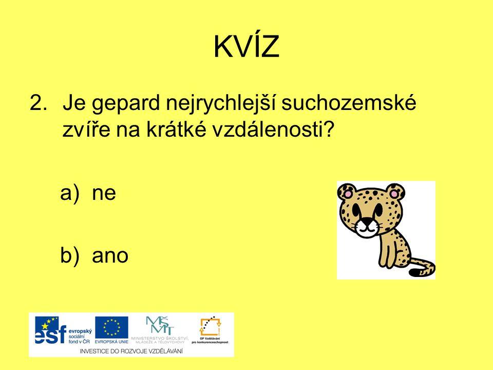 KVÍZ 2.Je gepard nejrychlejší suchozemské zvíře na krátké vzdálenosti? a) ne b) ano