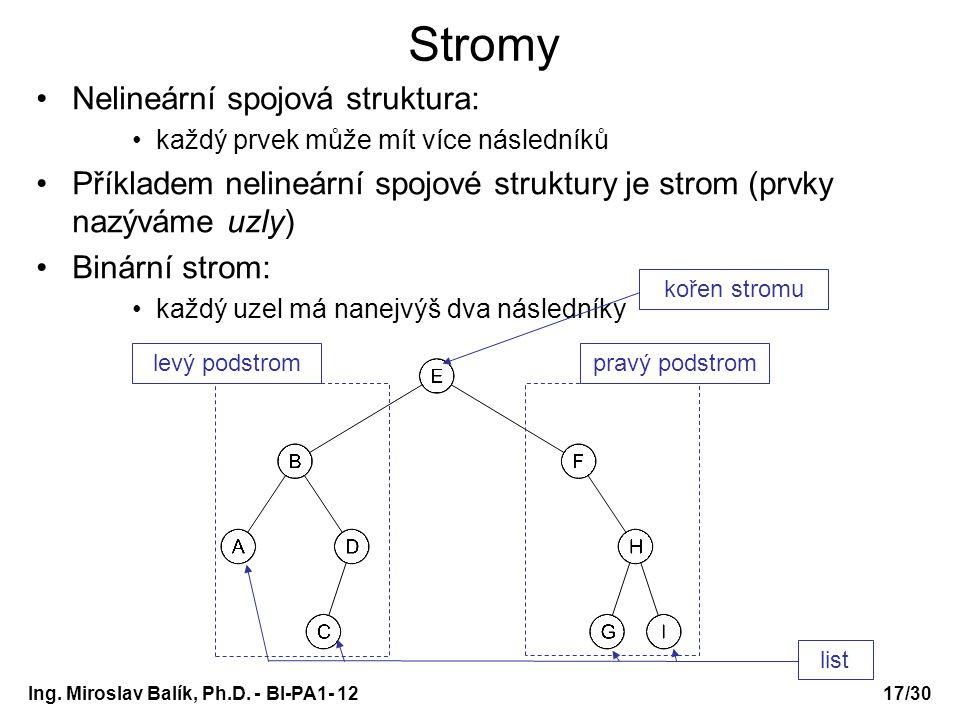 Ing. Miroslav Balík, Ph.D. - BI-PA1- 12 Nelineární spojová struktura: každý prvek může mít více následníků Příkladem nelineární spojové struktury je s