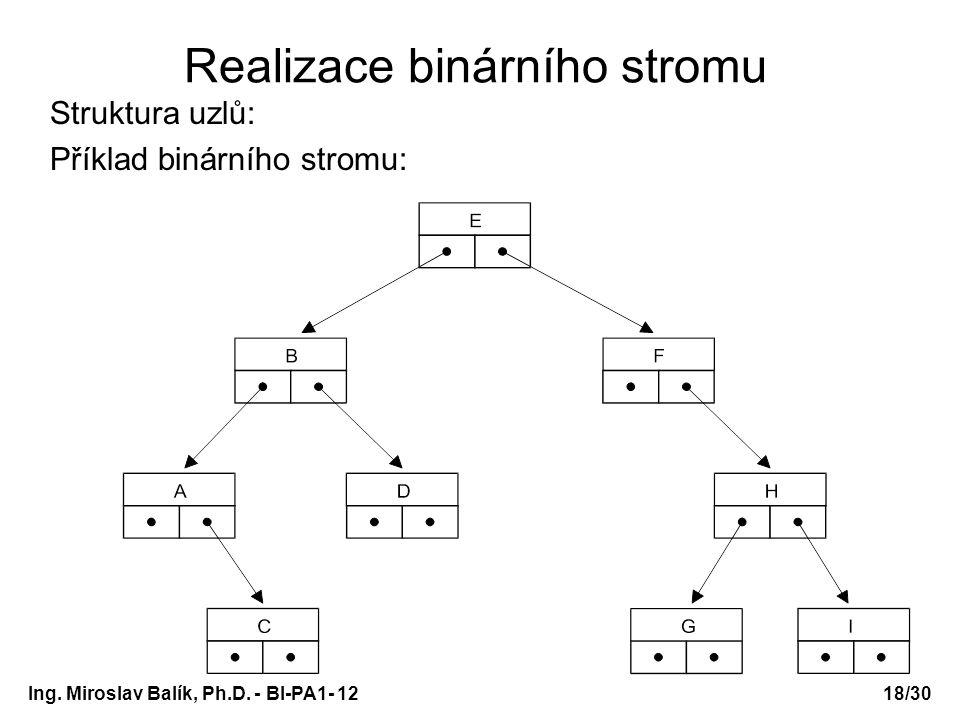 Ing. Miroslav Balík, Ph.D. - BI-PA1- 12 Realizace binárního stromu Struktura uzlů: Příklad binárního stromu: 18/30