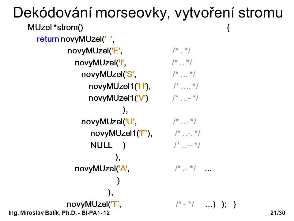 Ing. Miroslav Balík, Ph.D. - BI-PA1- 12 Dekódování morseovky, vytvoření stromu MUzel *strom() { return novyMUzel(' ', novyMUzel('E', /*. */ novyMUzel(
