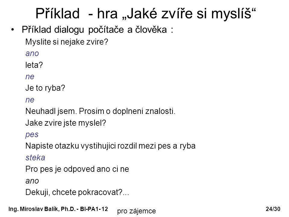 """Ing. Miroslav Balík, Ph.D. - BI-PA1- 12 Příklad - hra """"Jaké zvíře si myslíš"""" Příklad dialogu počítače a člověka : Myslite si nejake zvire? ano leta? n"""