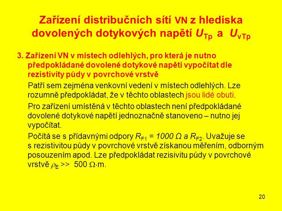 20 Zařízení distribučních sítí VN z hlediska dovolených dotykových napětí U Tp a U vTp 3. Zařízení VN v místech odlehlých, pro která je nutno předpokl