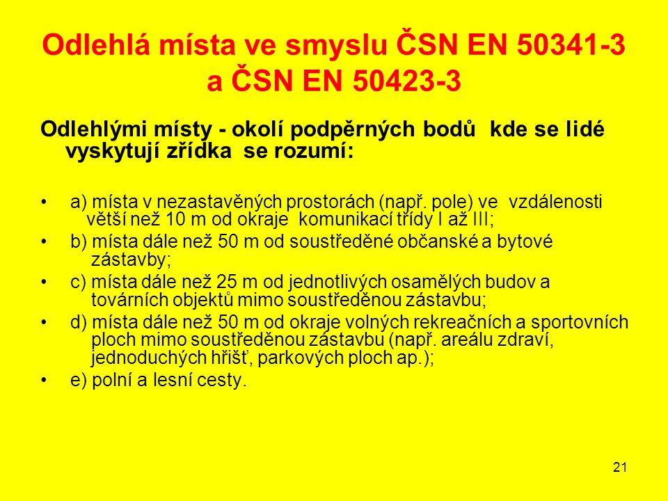21 Odlehlá místa ve smyslu ČSN EN 50341-3 a ČSN EN 50423-3 Odlehlými místy - okolí podpěrných bodů kde se lidé vyskytují zřídka se rozumí: a) místa v