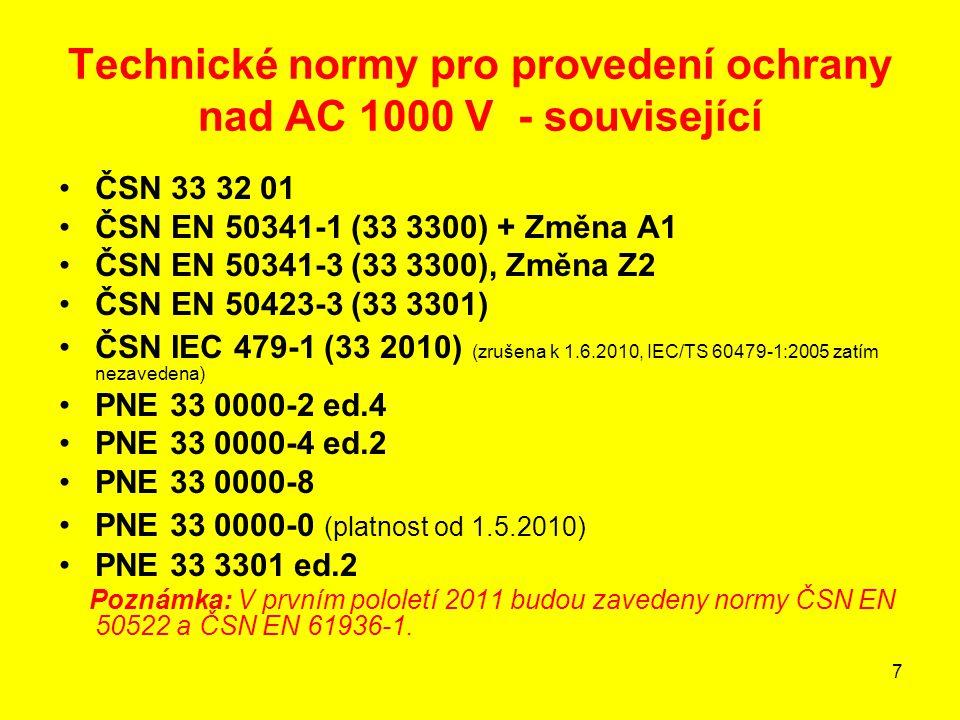 28 V případech, kdy lze od kontroly velikosti dotykových napětí upustit nelze však pominout - zejména u venkovních vedení vn, vvn, zvn - požadavky na uzemňování pro ochranu před účinky blesku – viz ČSN EN 50341-3 (33 3300), Změna Z2 a ČSN EN 50423-3 (33 3301), PNE 33 0000-8, PNE 33 0000-9
