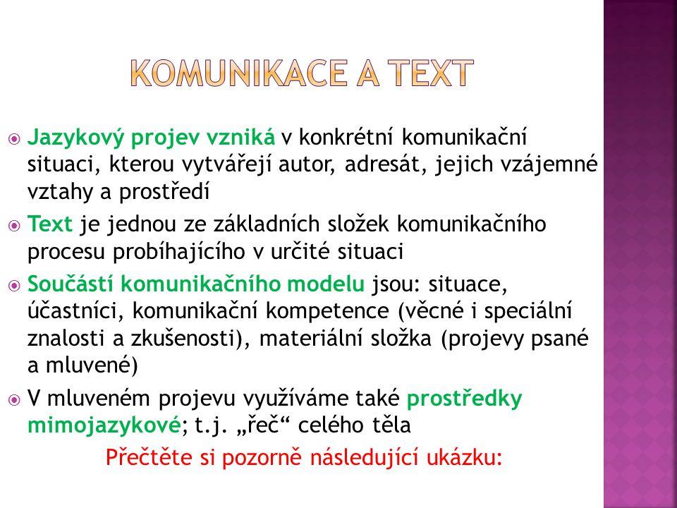  Jazykový projev vzniká v konkrétní komunikační situaci, kterou vytvářejí autor, adresát, jejich vzájemné vztahy a prostředí  Text je jednou ze základních složek komunikačního procesu probíhajícího v určité situaci  Součástí komunikačního modelu jsou: situace, účastníci, komunikační kompetence (věcné i speciální znalosti a zkušenosti), materiální složka (projevy psané a mluvené)  V mluveném projevu využíváme také prostředky mimojazykové; t.j.