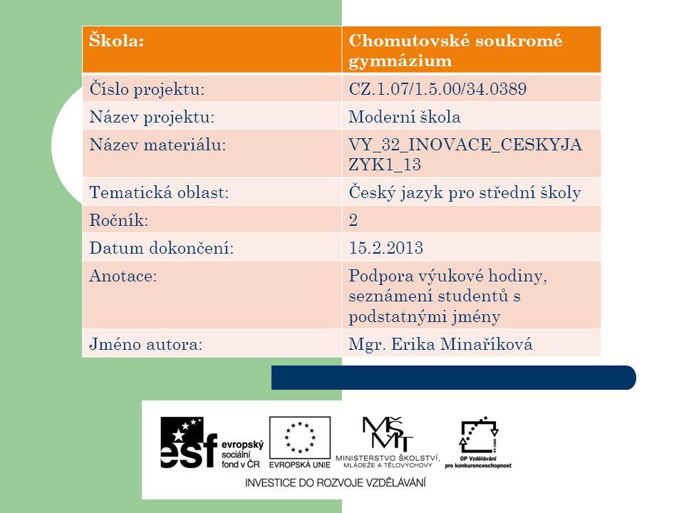 Škola:Chomutovské soukromé gymnázium Číslo projektu:CZ.1.07/1.5.00/34.0389 Název projektu:Moderní škola Název materiálu:VY_32_INOVACE_CESKYJA ZYK1_13