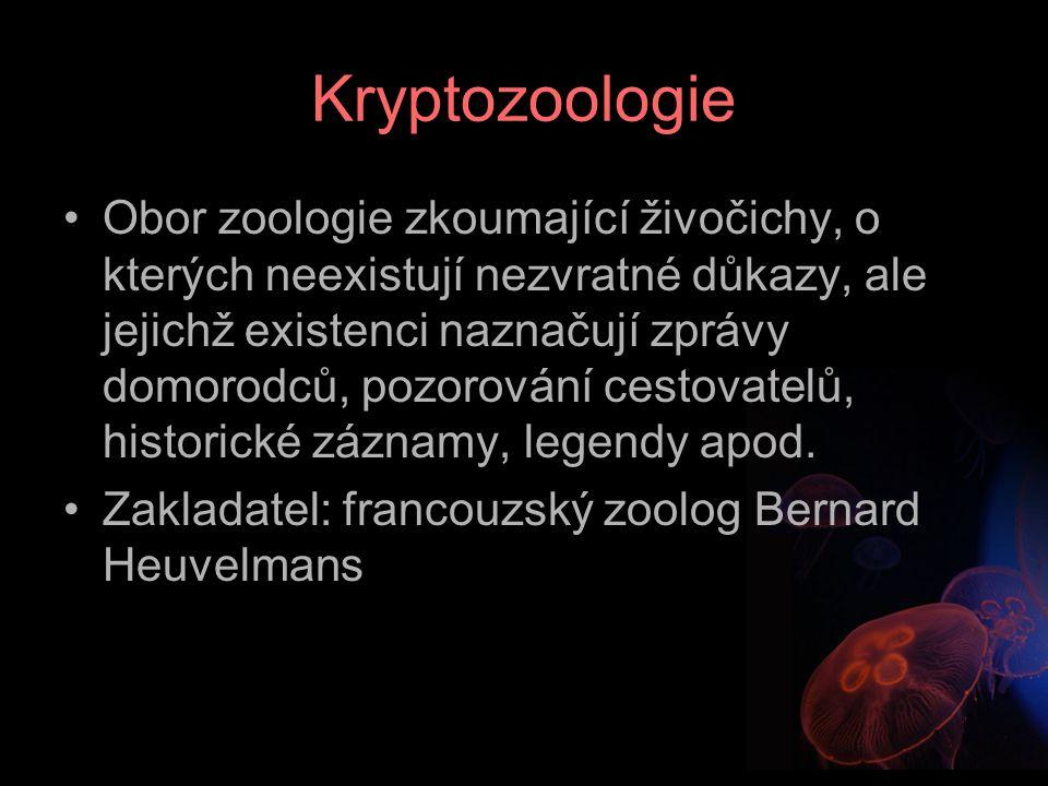 Kryptozoologie Obor zoologie zkoumající živočichy, o kterých neexistují nezvratné důkazy, ale jejichž existenci naznačují zprávy domorodců, pozorování