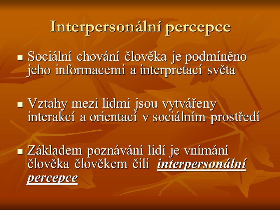 Interpersonální percepce Sociální chování člověka je podmíněno jeho informacemi a interpretací světa Sociální chování člověka je podmíněno jeho informacemi a interpretací světa Vztahy mezi lidmi jsou vytvářeny interakcí a orientací v sociálním prostředí Vztahy mezi lidmi jsou vytvářeny interakcí a orientací v sociálním prostředí Základem poznávání lidí je vnímání člověka člověkem čili interpersonální percepce Základem poznávání lidí je vnímání člověka člověkem čili interpersonální percepce