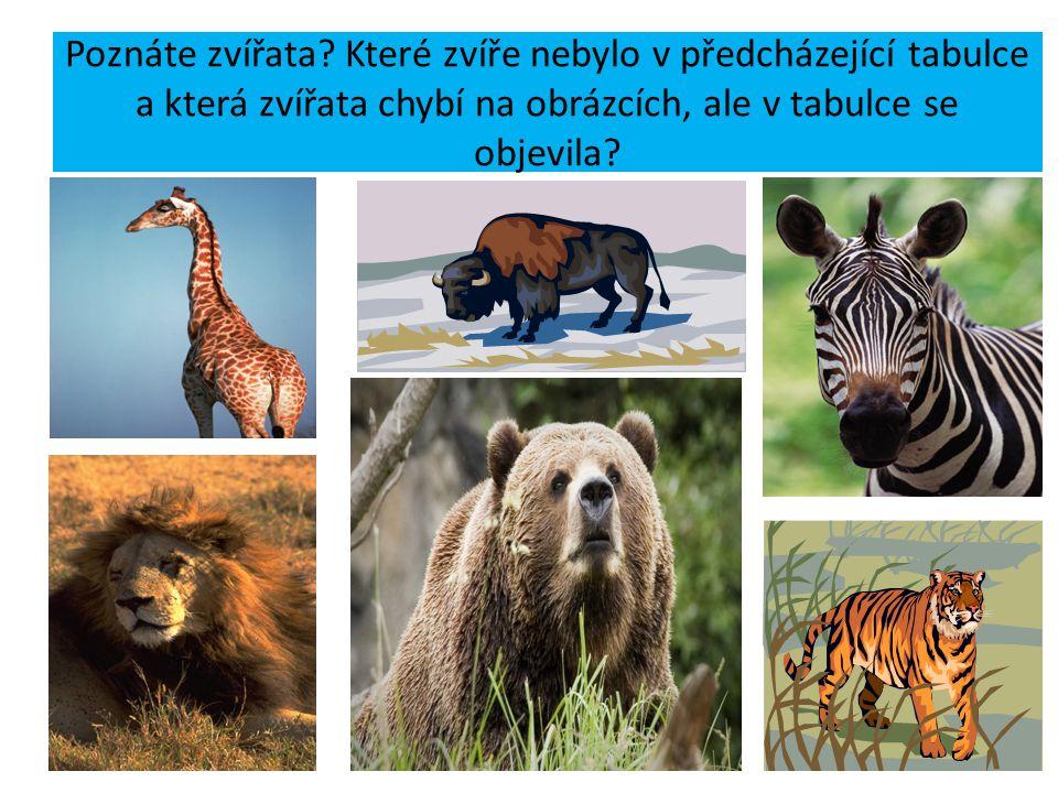 Poznáte zvířata? Které zvíře nebylo v předcházející tabulce a která zvířata chybí na obrázcích, ale v tabulce se objevila?
