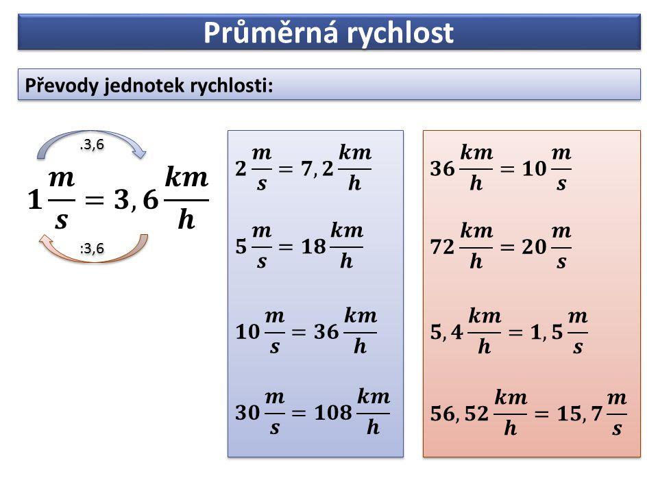 Průměrná rychlost Převody jednotek rychlosti:.3,6 :3,6