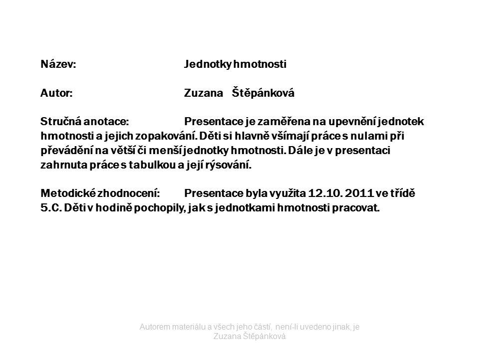 JEDNOTKY HMOTNOSTI Autorem materiálu a všech jeho částí, není-li uvedeno jinak, je Zuzana Štěpánková