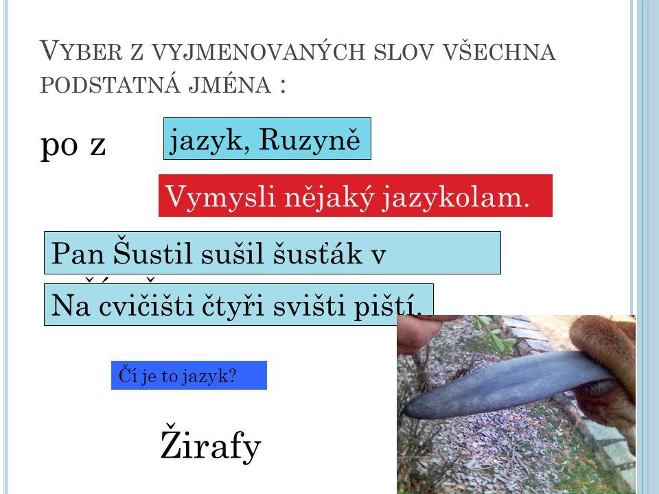 V YBER Z VYJMENOVANÝCH SLOV VŠECHNA PODSTATNÁ JMÉNA : po z jazyk, Ruzyně Vymysli nějaký jazykolam.