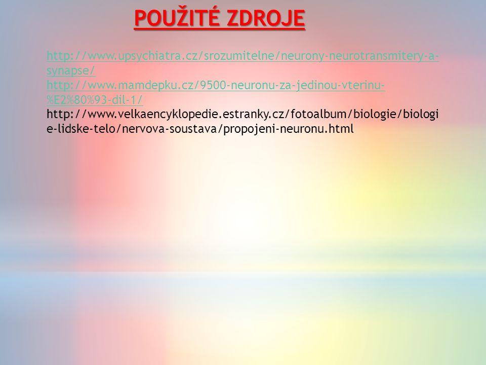 POUŽITÉ ZDROJE http://www.upsychiatra.cz/srozumitelne/neurony-neurotransmitery-a- synapse/ http://www.mamdepku.cz/9500-neuronu-za-jedinou-vterinu- %E2%80%93-dil-1/ http://www.velkaencyklopedie.estranky.cz/fotoalbum/biologie/biologi e-lidske-telo/nervova-soustava/propojeni-neuronu.html