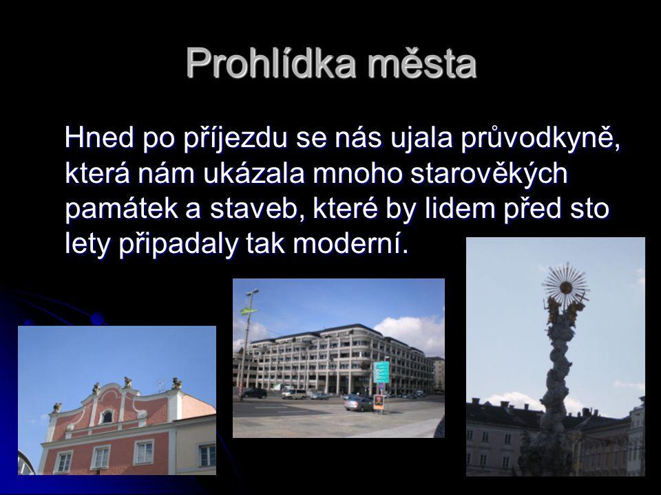 Prohlídka města Hned po příjezdu se nás ujala průvodkyně, která nám ukázala mnoho starověkých památek a staveb, které by lidem před sto lety připadaly tak moderní.