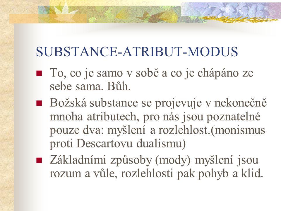 SUBSTANCE-ATRIBUT-MODUS To, co je samo v sobě a co je chápáno ze sebe sama. Bůh. Božská substance se projevuje v nekonečně mnoha atributech, pro nás j