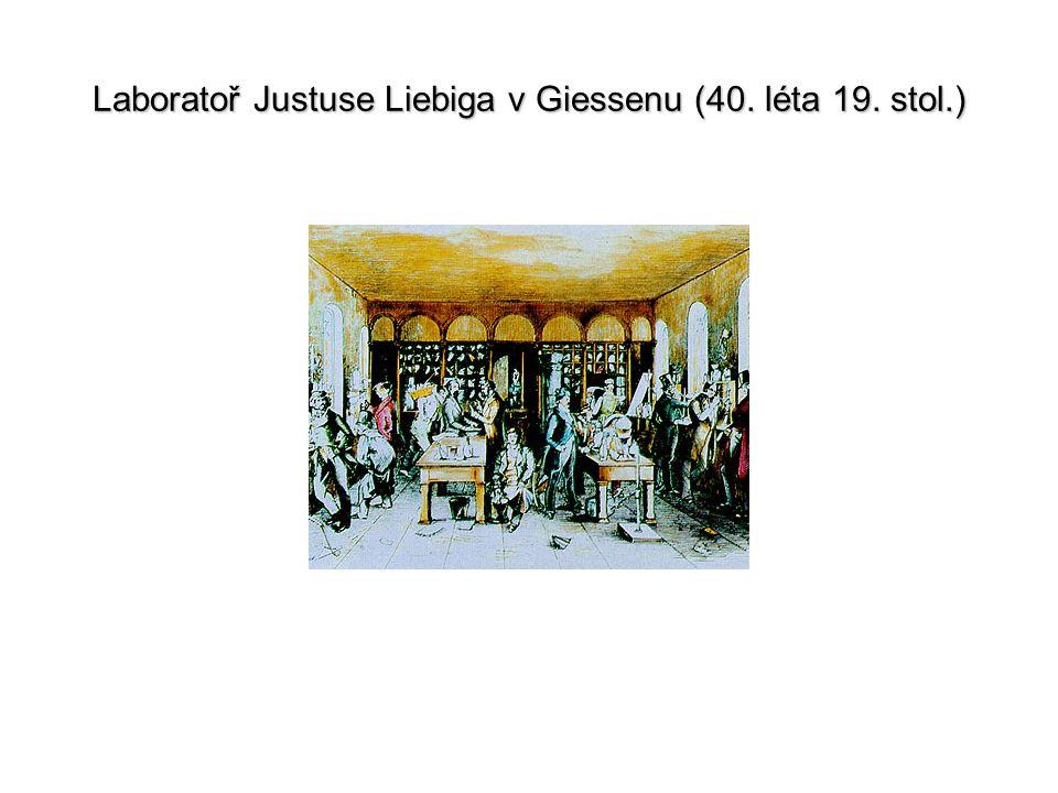 Laboratoř Justuse Liebiga v Giessenu (40. léta 19. stol.)