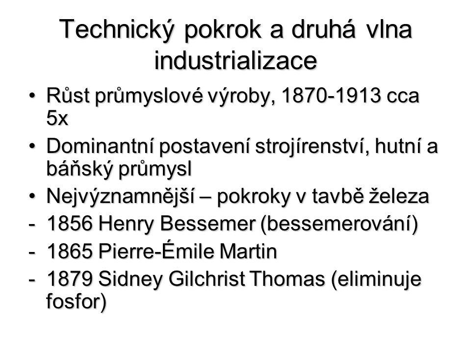 Technický pokrok a druhá vlna industrializace Růst průmyslové výroby, 1870-1913 cca 5xRůst průmyslové výroby, 1870-1913 cca 5x Dominantní postavení strojírenství, hutní a báňský průmyslDominantní postavení strojírenství, hutní a báňský průmysl Nejvýznamnější – pokroky v tavbě železaNejvýznamnější – pokroky v tavbě železa -1856 Henry Bessemer (bessemerování) -1865 Pierre-Émile Martin -1879 Sidney Gilchrist Thomas (eliminuje fosfor)