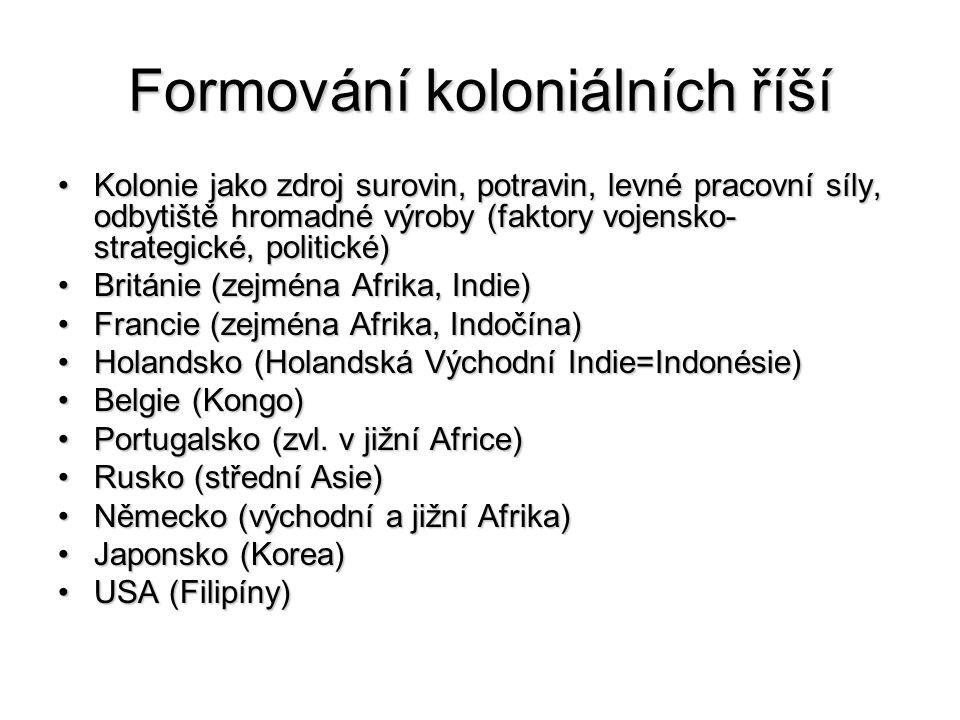 Formování koloniálních říší Kolonie jako zdroj surovin, potravin, levné pracovní síly, odbytiště hromadné výroby (faktory vojensko- strategické, politické)Kolonie jako zdroj surovin, potravin, levné pracovní síly, odbytiště hromadné výroby (faktory vojensko- strategické, politické) Británie (zejména Afrika, Indie)Británie (zejména Afrika, Indie) Francie (zejména Afrika, Indočína)Francie (zejména Afrika, Indočína) Holandsko (Holandská Východní Indie=Indonésie)Holandsko (Holandská Východní Indie=Indonésie) Belgie (Kongo)Belgie (Kongo) Portugalsko (zvl.