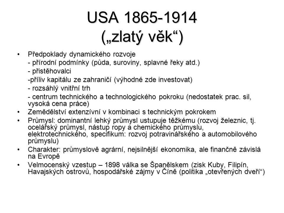 """USA 1865-1914 (""""zlatý věk ) Předpoklady dynamického rozvojePředpoklady dynamického rozvoje - přírodní podmínky (půda, suroviny, splavné řeky atd.) - přistěhovalci -příliv kapitálu ze zahraničí (výhodné zde investovat) - rozsáhlý vnitřní trh - centrum technického a technologického pokroku (nedostatek prac."""