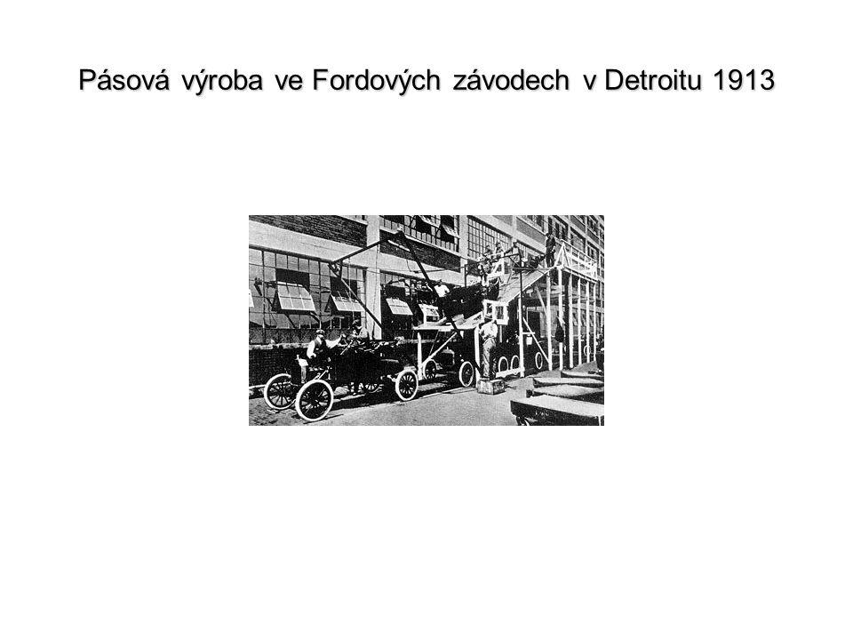 Pásová výroba ve Fordových závodech v Detroitu 1913