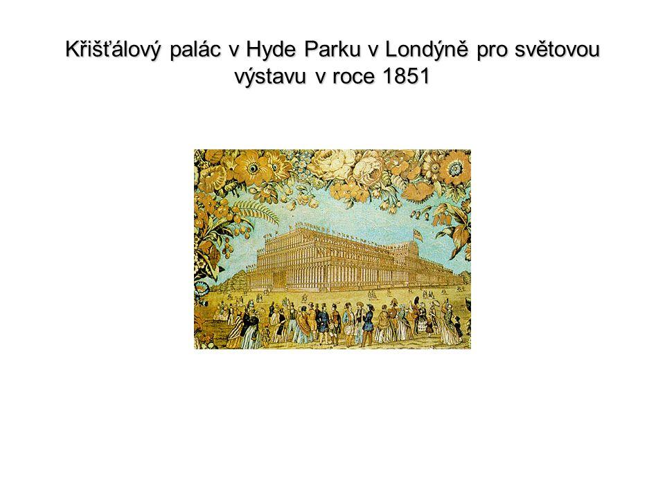 Křišťálový palác v Hyde Parku v Londýně pro světovou výstavu v roce 1851