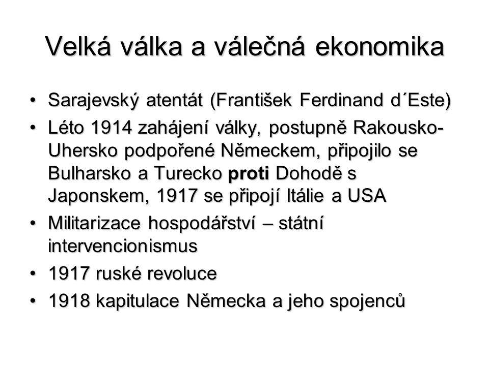 Velká válka a válečná ekonomika Sarajevský atentát (František Ferdinand d´Este)Sarajevský atentát (František Ferdinand d´Este) Léto 1914 zahájení války, postupně Rakousko- Uhersko podpořené Německem, připojilo se Bulharsko a Turecko proti Dohodě s Japonskem, 1917 se připojí Itálie a USALéto 1914 zahájení války, postupně Rakousko- Uhersko podpořené Německem, připojilo se Bulharsko a Turecko proti Dohodě s Japonskem, 1917 se připojí Itálie a USA Militarizace hospodářství – státní intervencionismusMilitarizace hospodářství – státní intervencionismus 1917 ruské revoluce1917 ruské revoluce 1918 kapitulace Německa a jeho spojenců1918 kapitulace Německa a jeho spojenců
