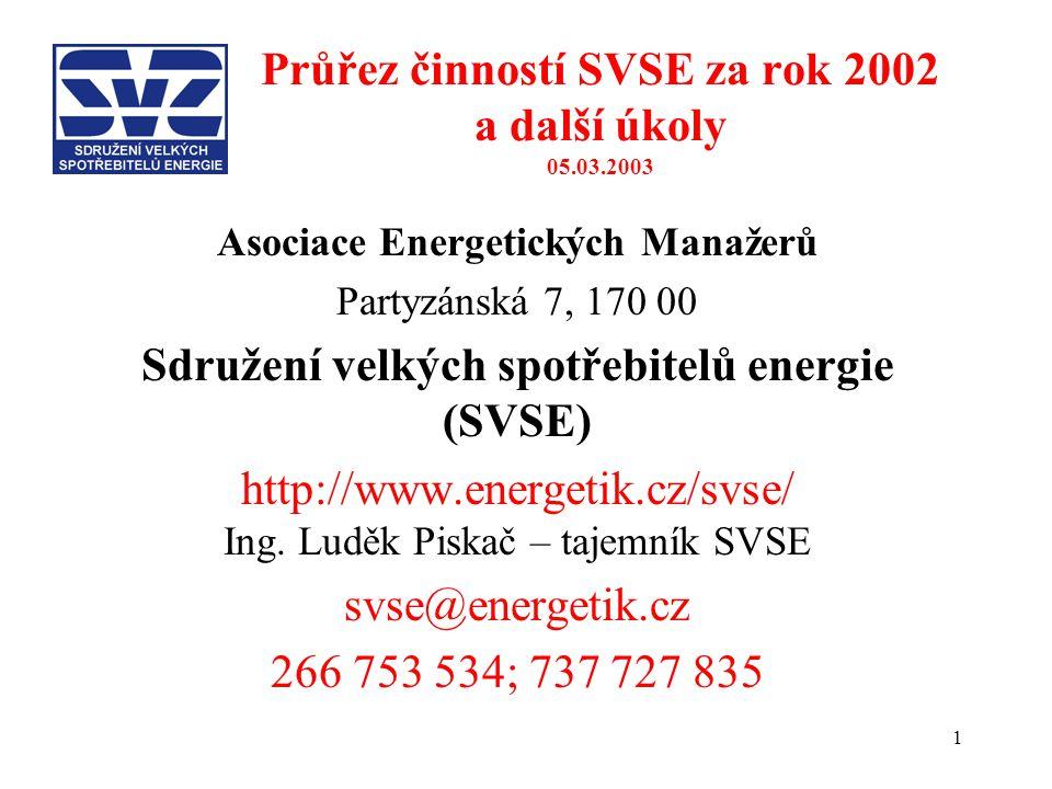 1 Průřez činností SVSE za rok 2002 a další úkoly 05.03.2003 Asociace Energetických Manažerů Partyzánská 7, 170 00 Sdružení velkých spotřebitelů energie (SVSE) http://www.energetik.cz/svse/ Ing.