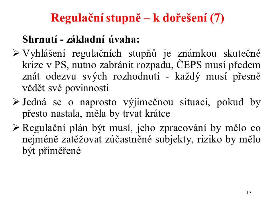 13 Shrnutí - základní úvaha:  Vyhlášení regulačních stupňů je známkou skutečné krize v PS, nutno zabránit rozpadu, ČEPS musí předem znát odezvu svých