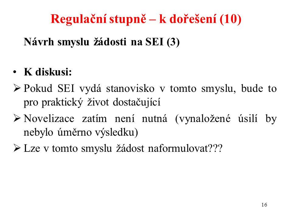 16 Návrh smyslu žádosti na SEI (3) K diskusi:  Pokud SEI vydá stanovisko v tomto smyslu, bude to pro praktický život dostačující  Novelizace zatím n