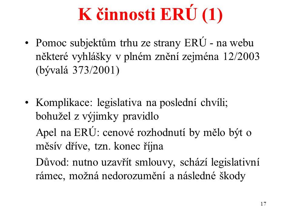 17 K činnosti ERÚ (1) Pomoc subjektům trhu ze strany ERÚ - na webu některé vyhlášky v plném znění zejména 12/2003 (bývalá 373/2001) Komplikace: legislativa na poslední chvíli; bohužel z výjimky pravidlo Apel na ERÚ: cenové rozhodnutí by mělo být o měsív dříve, tzn.