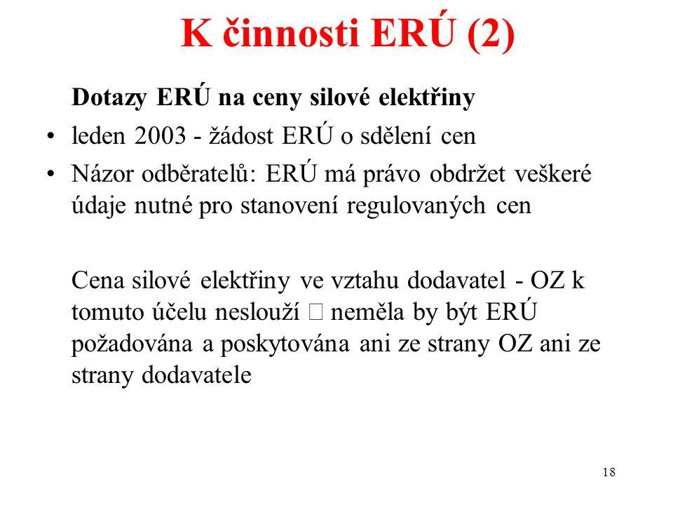 18 K činnosti ERÚ (2) Dotazy ERÚ na ceny silové elektřiny leden 2003 - žádost ERÚ o sdělení cen Názor odběratelů: ERÚ má právo obdržet veškeré údaje nutné pro stanovení regulovaných cen Cena silové elektřiny ve vztahu dodavatel - OZ k tomuto účelu neslouží  neměla by být ERÚ požadována a poskytována ani ze strany OZ ani ze strany dodavatele