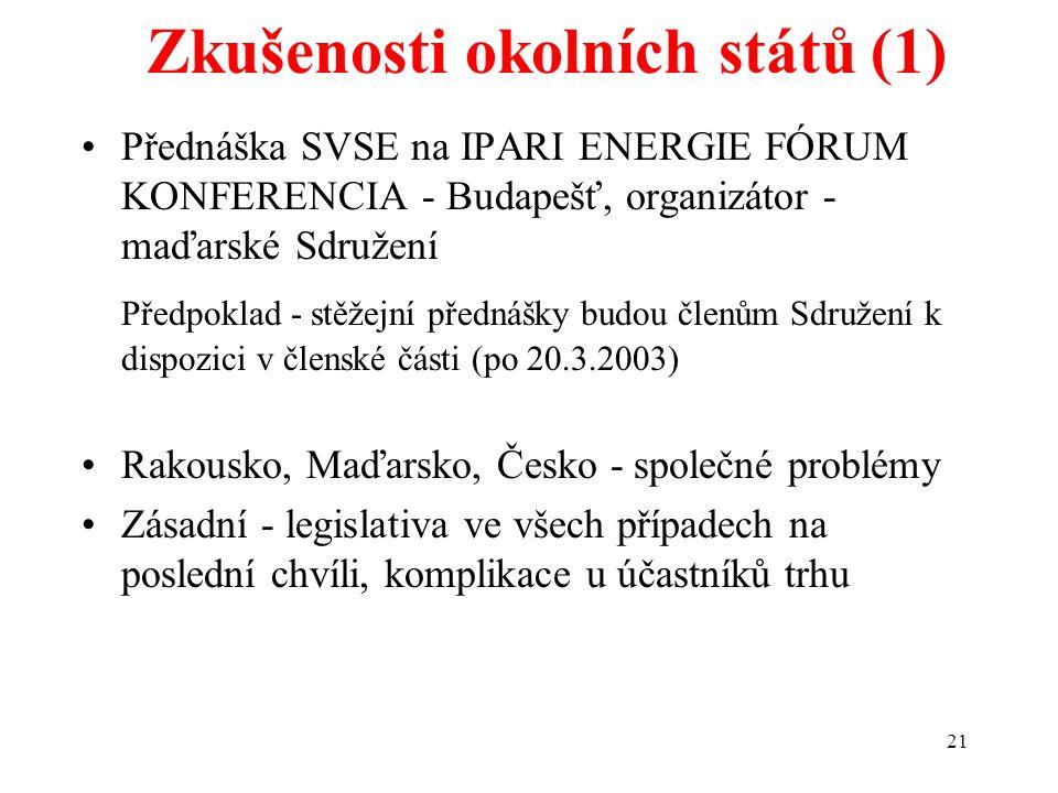 21 Zkušenosti okolních států (1) Přednáška SVSE na IPARI ENERGIE FÓRUM KONFERENCIA - Budapešť, organizátor - maďarské Sdružení Předpoklad - stěžejní přednášky budou členům Sdružení k dispozici v členské části (po 20.3.2003) Rakousko, Maďarsko, Česko - společné problémy Zásadní - legislativa ve všech případech na poslední chvíli, komplikace u účastníků trhu