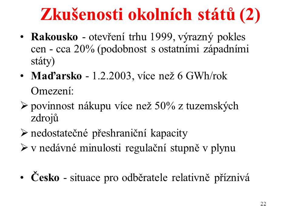 22 Zkušenosti okolních států (2) Rakousko - otevření trhu 1999, výrazný pokles cen - cca 20% (podobnost s ostatními západními státy) Maďarsko - 1.2.2003, více než 6 GWh/rok Omezení:  povinnost nákupu více než 50% z tuzemských zdrojů  nedostatečné přeshraniční kapacity  v nedávné minulosti regulační stupně v plynu Česko - situace pro odběratele relativně příznivá