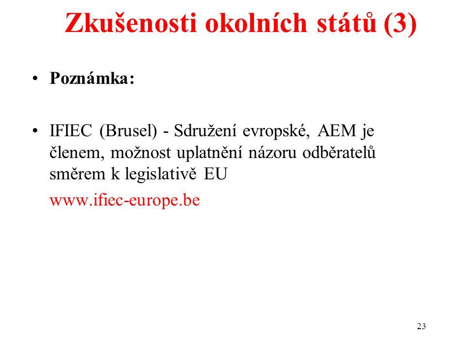 23 Zkušenosti okolních států (3) Poznámka: IFIEC (Brusel) - Sdružení evropské, AEM je členem, možnost uplatnění názoru odběratelů směrem k legislativě