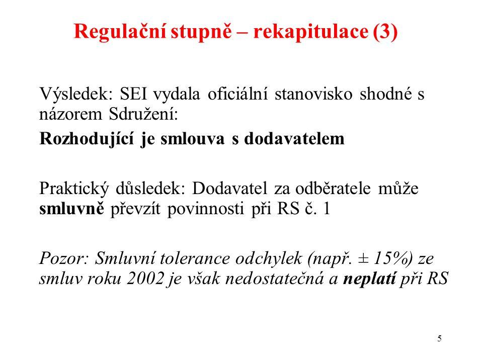 5 Výsledek: SEI vydala oficiální stanovisko shodné s názorem Sdružení: Rozhodující je smlouva s dodavatelem Praktický důsledek: Dodavatel za odběratele může smluvně převzít povinnosti při RS č.