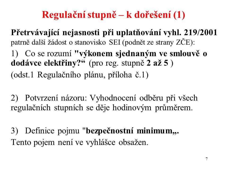 7 Přetrvávající nejasnosti při uplatňování vyhl. 219/2001 patrně další žádost o stanovisko SEI (podnět ze strany ZČE): 1)Co se rozumí