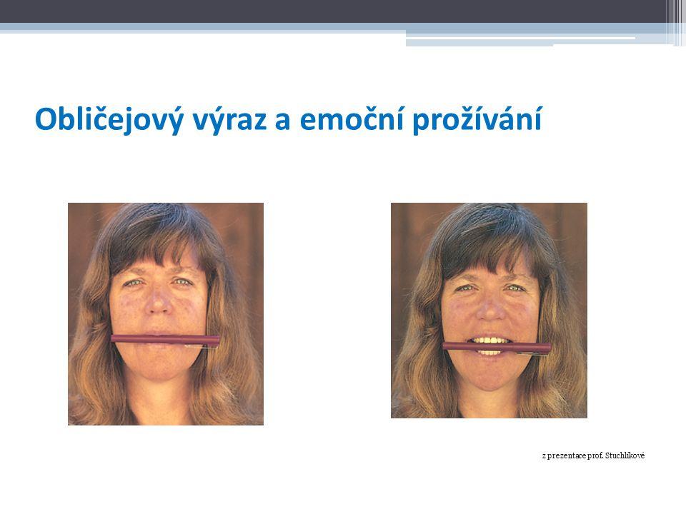 Obličejový výraz a emoční prožívání z prezentace prof. Stuchlíkové