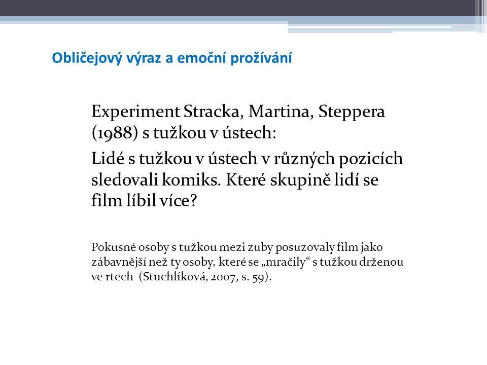 Obličejový výraz a emoční prožívání Experiment Stracka, Martina, Steppera (1988) s tužkou v ústech: Lidé s tužkou v ústech v různých pozicích sledoval