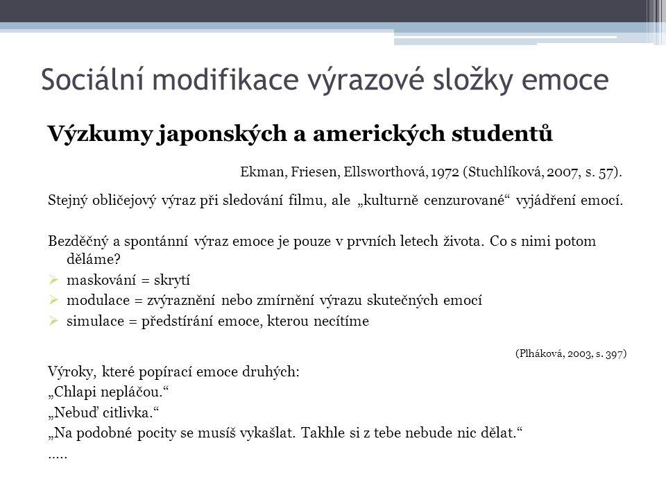 Sociální modifikace výrazové složky emoce Výzkumy japonských a amerických studentů Ekman, Friesen, Ellsworthová, 1972 (Stuchlíková, 2007, s. 57). Stej