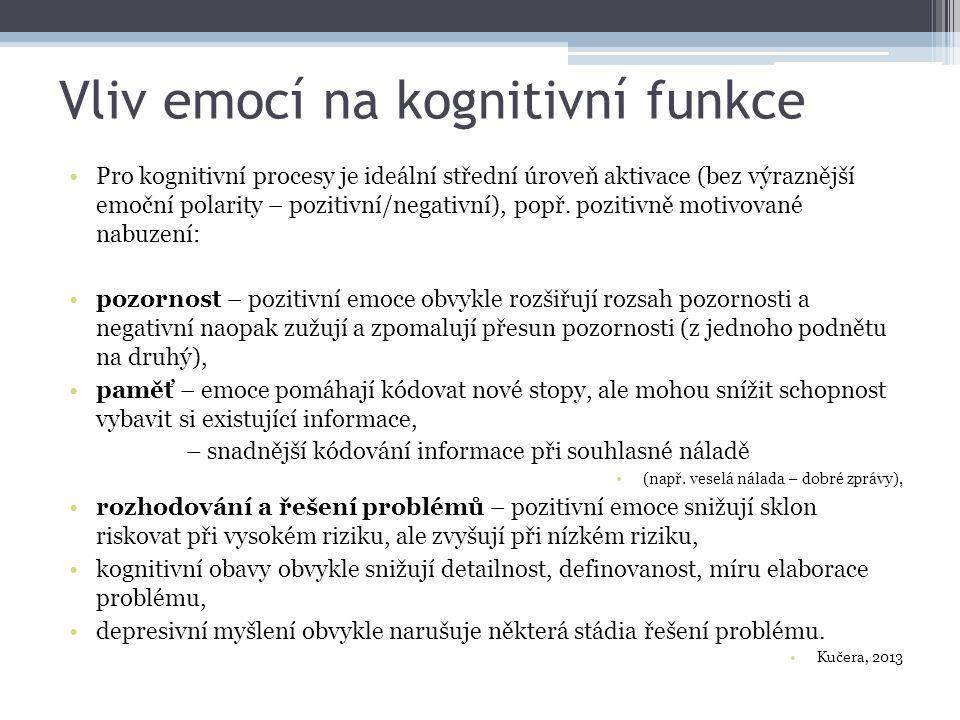 Vliv emocí na kognitivní funkce Pro kognitivní procesy je ideální střední úroveň aktivace (bez výraznější emoční polarity – pozitivní/negativní), popř