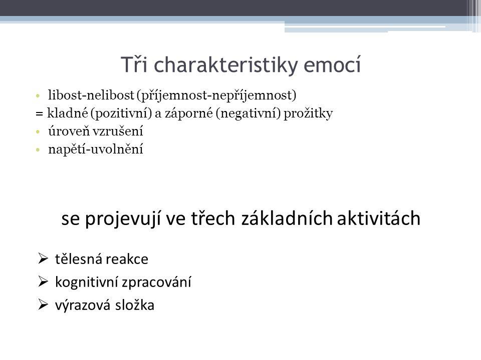 Tři charakteristiky emocí libost-nelibost (příjemnost-nepříjemnost) = kladné (pozitivní) a záporné (negativní) prožitky úroveň vzrušení napětí-uvolněn
