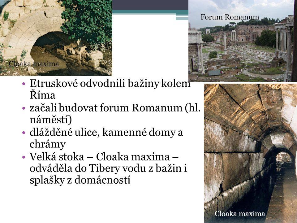 Etruskové odvodnili bažiny kolem Říma začali budovat forum Romanum (hl. náměstí) dlážděné ulice, kamenné domy a chrámy Velká stoka – Cloaka maxima – o