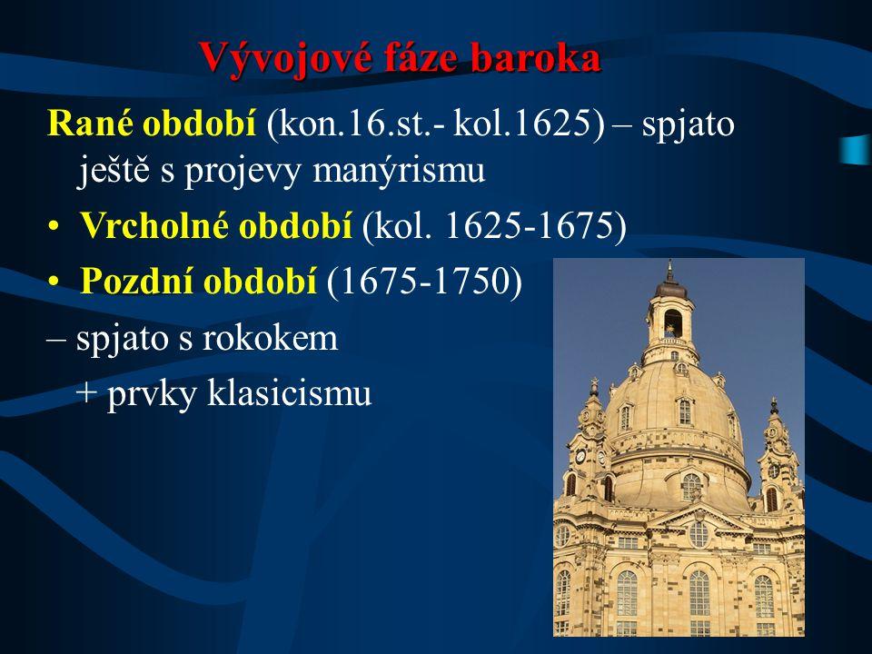 Rané období (kon.16.st.- kol.1625) – spjato ještě s projevy manýrismu Vrcholné období (kol. 1625-1675) Pozdní období (1675-1750) – spjato s rokokem +