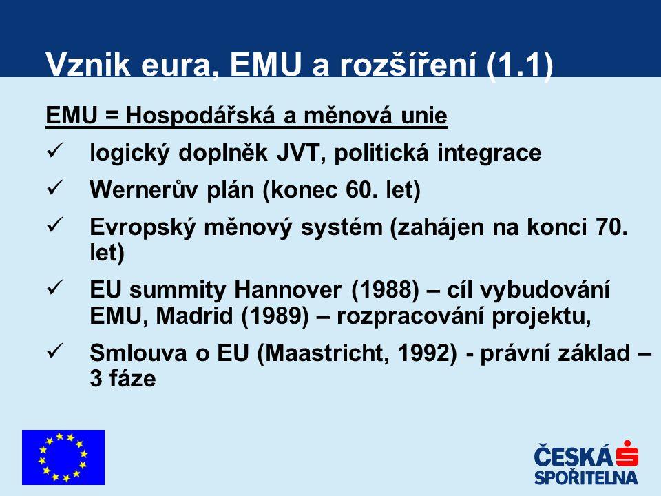 Vznik eura, EMU a rozšíření (1.1) EMU = Hospodářská a měnová unie logický doplněk JVT, politická integrace Wernerův plán (konec 60. let) Evropský měno