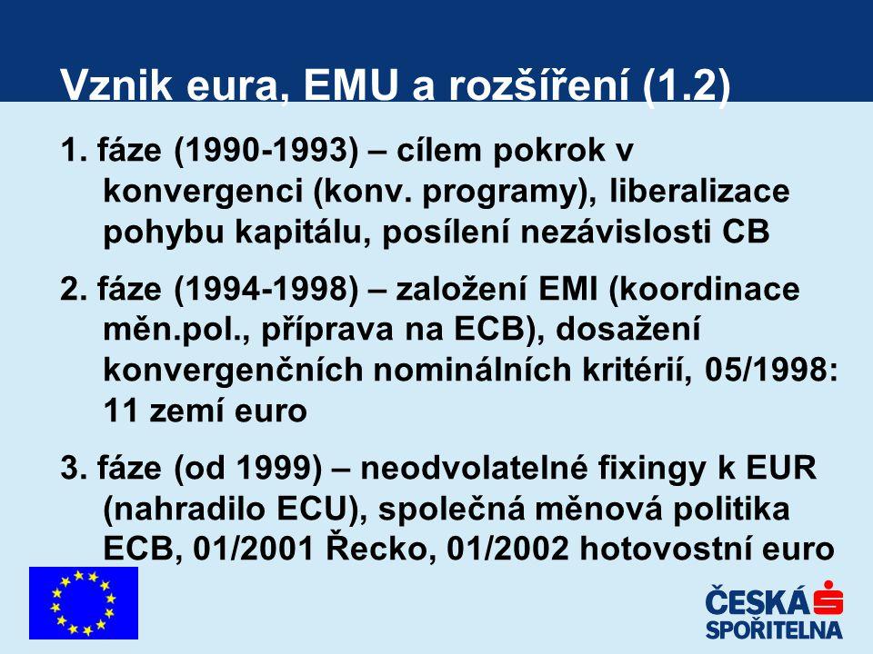 Vznik eura, EMU a rozšíření (1.2) 1. fáze (1990-1993) – cílem pokrok v konvergenci (konv. programy), liberalizace pohybu kapitálu, posílení nezávislos