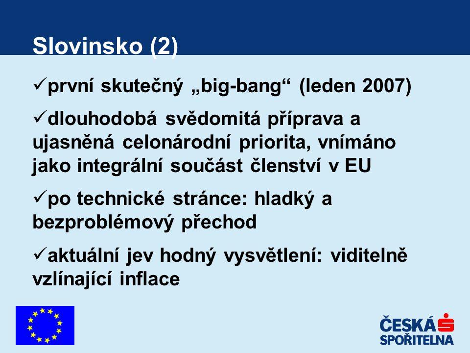 """Budoucnost (3) Jistota: Kypr, Malta (leden 2008) Poměrně vysoká míra pravděpodobnosti: Slovensko (leden 2009) První opravný pokus: Litva (předchozí oficiální vyloučení; Estonsko, Lotyšsko (dobrovolně vzdaly) (zřejmě přelom dekády Mlhavé nejasno: Česká republika, Polsko, Maďarsko (výrazný rozdíl: Maďarsko selhává v plnění kritérií, ale my na to ekonomicky máme) Dravé """"mládí : Bulharsko (možný vstup do ERM-2 ještě v letošním roce)"""