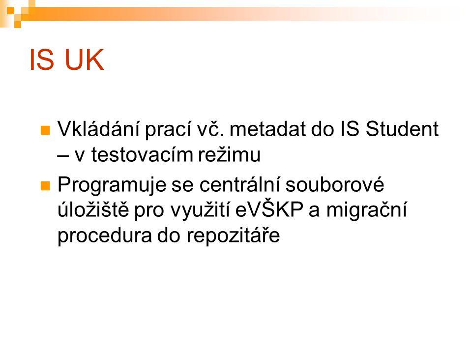 IS UK Vkládání prací vč. metadat do IS Student – v testovacím režimu Programuje se centrální souborové úložiště pro využití eVŠKP a migrační procedura