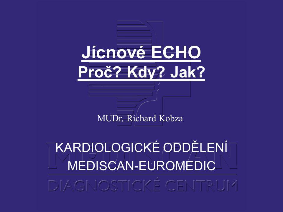 Jícnové ECHO Proč? Kdy? Jak? MUDr. Richard Kobza KARDIOLOGICKÉ ODDĚLENÍ MEDISCAN-EUROMEDIC