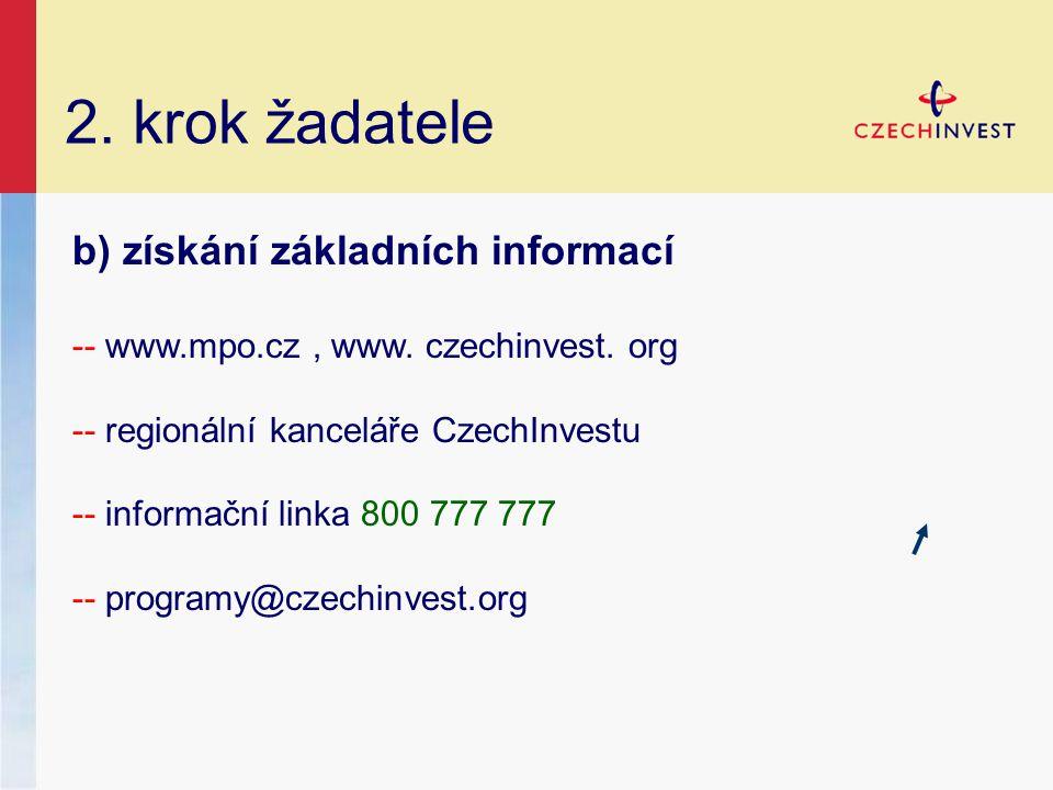 2. krok žadatele b) získání základních informací -- www.mpo.cz, www. czechinvest. org -- regionální kanceláře CzechInvestu -- informační linka 800 777
