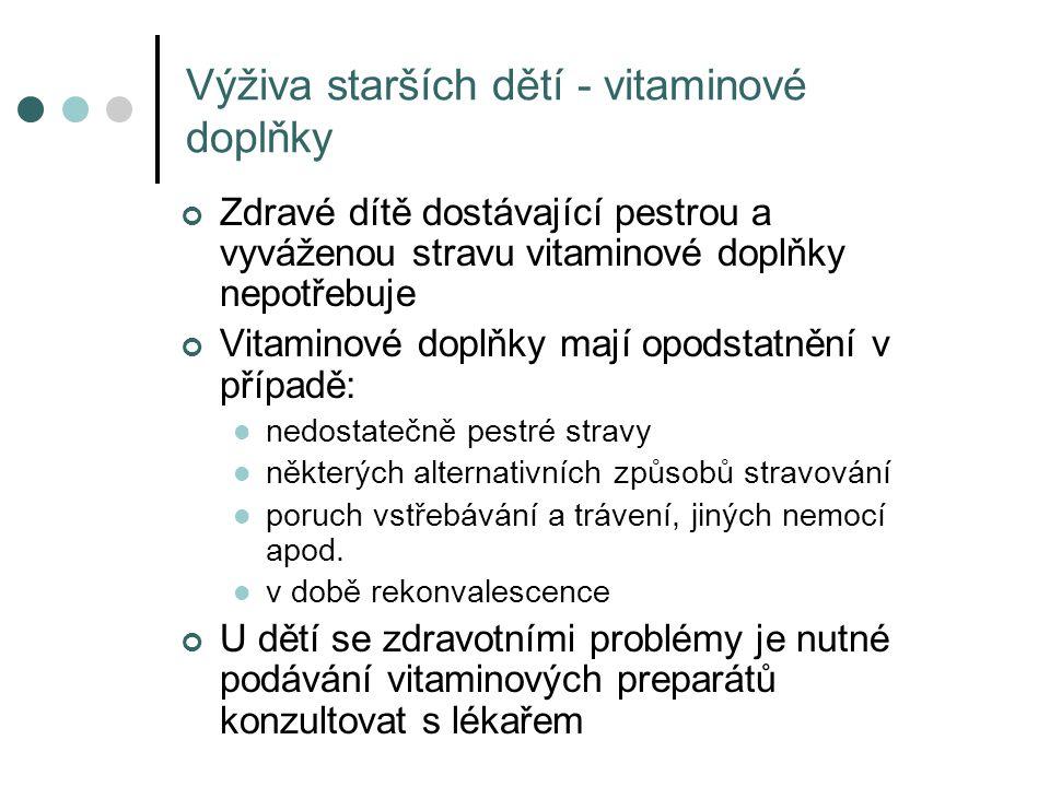 Výživa starších dětí - vitaminové doplňky Zdravé dítě dostávající pestrou a vyváženou stravu vitaminové doplňky nepotřebuje Vitaminové doplňky mají op